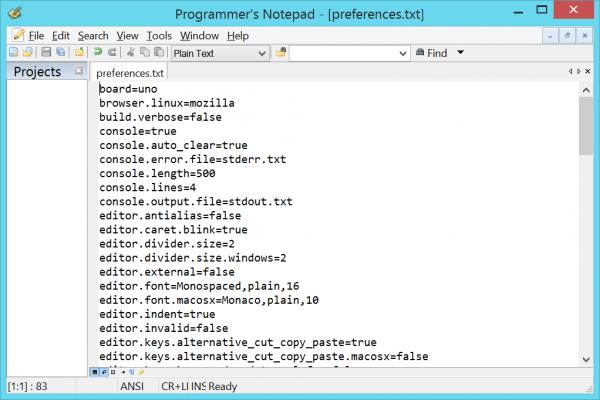 Arduino properties file