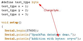Code snippet for byte program