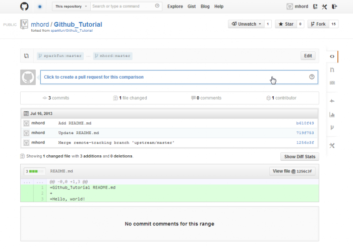Pull request page